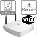 Dahua WiFi NVR 4 kanaler med 2TB HDD 12 Mbit, NVR4104-W