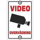 Videoovervågning skilt til hus hvid